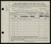 Entry card for Ellis, Dean W. for the 1948 May Show.