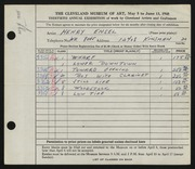 Entry card for Ensel, Henry for the 1948 May Show.
