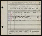 Entry card for Feiss, Gertrude Louise for the 1948 May Show.