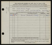 Entry card for Fergus, Louise Breck for the 1948 May Show.