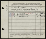 Entry card for Fisher, James Barak for the 1948 May Show.