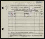 Entry card for Gensert, Jeanne Louise for the 1948 May Show.