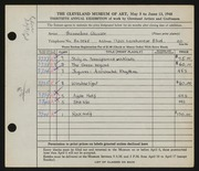 Entry card for Glasser, Hannelore for the 1948 May Show.