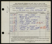 Entry card for Gosminski, Richard for the 1948 May Show.