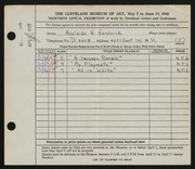 Entry card for Handrick, Adelaide H. for the 1948 May Show.
