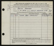 Entry card for Hansen, Jetta Evelyn for the 1948 May Show.
