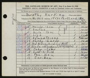 Entry card for Harkins, Dorothy Sabrina Wright for the 1948 May Show.