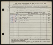 Entry card for Haynes, Jane Eakin for the 1948 May Show.