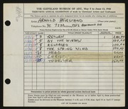 Entry card for Herstand, Arnold for the 1948 May Show.