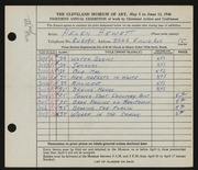Entry card for Hewett, Helen Bernice for the 1948 May Show.
