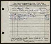Entry card for Hines, Francis W., Jr. for the 1948 May Show.