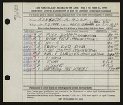 Entry card for Hugh, Kenneth Marcus for the 1948 May Show.