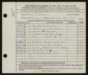 Entry card for Ingalls, Eileen B. for the 1948 May Show.