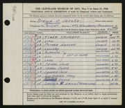 Entry card for Jeszke, Stella C. for the 1948 May Show.