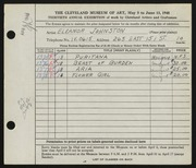 Entry card for Johnston, Eleanor for the 1948 May Show.