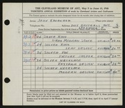Entry card for Kavanagh, Jean for the 1948 May Show.