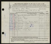 Entry card for Keim, Helen Mae for the 1948 May Show.