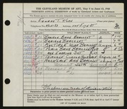 Entry card for Kern, Edward T. for the 1948 May Show.