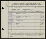 Entry card for Kravitz, Shirley for the 1948 May Show.