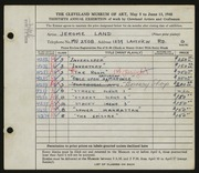 Entry card for Land, Jerome for the 1948 May Show.
