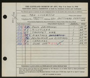 Entry card for Lockwood, Ted for the 1948 May Show.