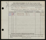 Entry card for Magada, Stephen for the 1948 May Show.
