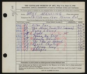 Entry card for Manning, Wray for the 1948 May Show.