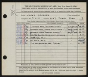 Entry card for Manzler, Lorna for the 1948 May Show.