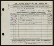 Entry card for Maxham, Vernon P. for the 1948 May Show.
