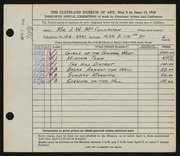Entry card for McCullough, Joseph for the 1948 May Show.