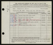 Entry card for Miller, Frederick Anson for the 1948 May Show.