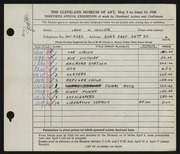 Entry card for Miller, Leon Gordon for the 1948 May Show.