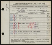 Entry card for Moore, Janet Gaylord for the 1948 May Show.