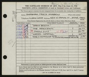 Entry card for Morrow, Barbara Price for the 1948 May Show.