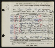 Entry card for Mosgo, Charles Francis for the 1948 May Show.
