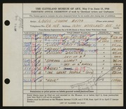 Entry card for Motto, Louis J. for the 1948 May Show.