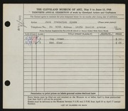 Entry card for Myers, Jack Frederick for the 1948 May Show.