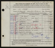 Entry card for Natko, Jo for the 1948 May Show.