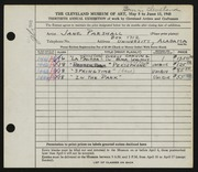 Entry card for Parshall, Harriet Jane for the 1948 May Show.
