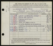 Entry card for Peck, Miriam Smith, and Sawhill, Richard for the 1948 May Show.