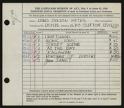 Entry card for Peter, Doris Bolton for the 1948 May Show.