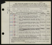 Entry card for Potter and Mellen , and Potter, Horace Ephraim; Weiser, Raymond T.; Chidlaw, H. Kenneth ; Miller, Frederick Anson; Corea, Sam ; for the 1948 May Show.