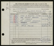 Entry card for Prentke, Edwin M. for the 1948 May Show.