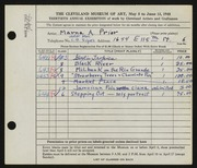 Entry card for Prior, Marna A. for the 1948 May Show.