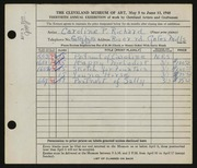 Entry card for Cass, Caroline Pickands for the 1948 May Show.