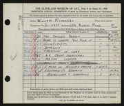 Entry card for Richards, William for the 1948 May Show.