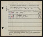 Entry card for Roberts, Peter for the 1948 May Show.