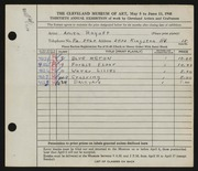 Entry card for Schulman, Anita for the 1948 May Show.
