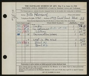 Entry card for Rosenberg, Yetta for the 1948 May Show.