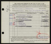 Entry card for Shawkey, Sigmund for the 1948 May Show.